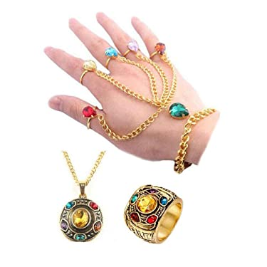 3Pcs The Avengers Infinity Gauntlet Stone Gem Costume Thanos Charm Bracelet Wristlet with Necklace and Ring