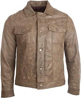 Aviatrix Men's Super-Soft Real Leather Classic Harrington Fashion Jacket (KUIG)