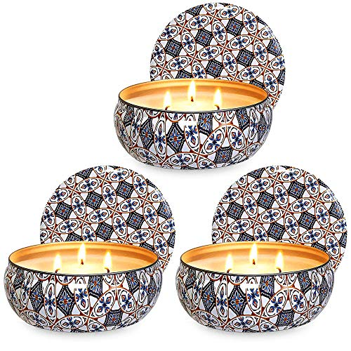 Ahyiyou 3 Wicks Citronella Scented Candle, 14oz Large Soy Wax Tin Candle for Decoration Gift, Outdoor and Indoor- 3Pack