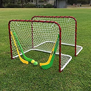 Functional and Durable Folding Double Metal Mini Hockey Goal Gift Set,Goals with Netting,Curved Slap Shot Mini Sticks,Goalie Sticks,Foam Balls,Safe and Convenient For Indoor or Outdoor Use