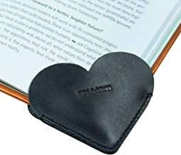 Hide & Drink, Leather Heart Bookmark (2 Pack), Bookworm Gifts, Book Lovers, Cute Accessories, Handmade Includes 101 Year Warranty :: Charcoal Black