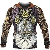Viking Odin Norse Mythology Runes 3D Impreso para Hombre Sudadera con Capucha Harajuku Streetwear Pullover Unisex Casual Chaqueta Chándal,Hoodies,M