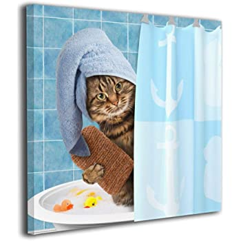 Amazon Com Hibippo Animals Funny Kitten Cat Bathing Canvas Wall Art Wall Artworks Pictures Home Decorations For Bedroom Office 20 X20 Stretched And Framed Posters Prints