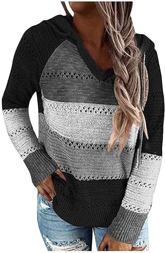 AODONG Women's Long Sleeve Color Block Tunics Fashion V Neck Tops Casual Loose Drawstring Pullover Hoodies Sweatshirts