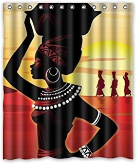 ZHANZZK African Woman Waterproof Bathroom Shower Curtain 60x72 Inches