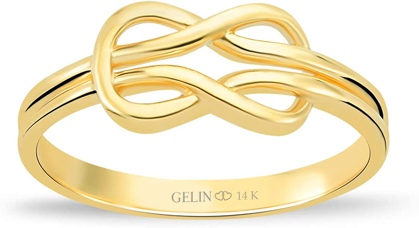 GELIN Celtic Knot Stacking Ring in 14k Solid Gold   Anniversary Ring for Women   Promise Ring for Her - Size 6