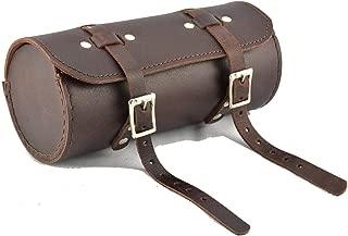 HERTE Genuine Leather Bicycle Round Saddle Bag Utility Tool Bag Chery Brown