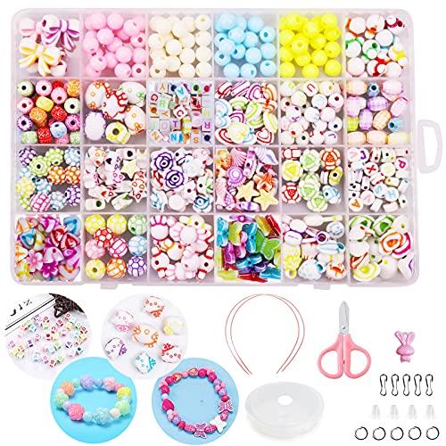 Perline per Braccialetti Bambini Colorate Fai da Te Perline Set Lettera Acrilica Perline Creazione di Gioielli Collane per Ragazze