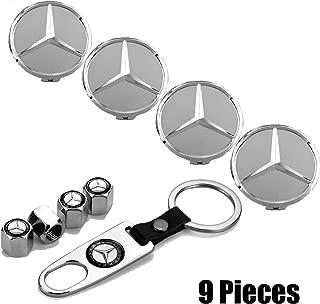 Sparkle-um 9-Piece Set 75mm Mercedes Benz Emblem Badge Wheel Hub Caps Centre Cover +Tire Valve Stem Caps Cover with Mercedes Keychain for Mercedes Benz. (Silver)