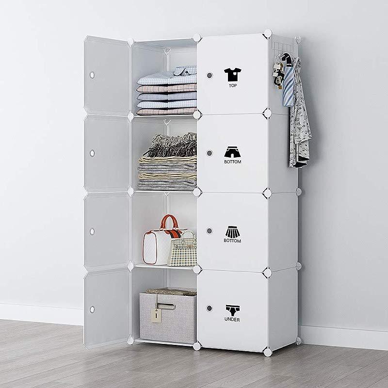 YOZO Modular Wardrobe Portable Clothes Closet Chest Drawer Polyresin Storage Organizer Bedroom Armoire Cubby Shelving Unit Dresser Multifunction Cabinet DIY Furniture White 8 Cubes