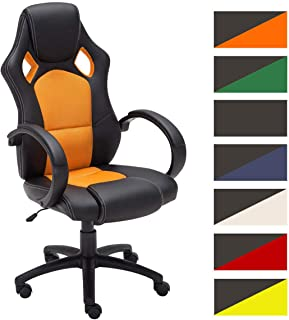 CLP Silla Racing De Oficina Fire En Simil Cuero & Base con Ruedas I Silla Gamer Regulable En Altura & Giratoria, Color: Naranja
