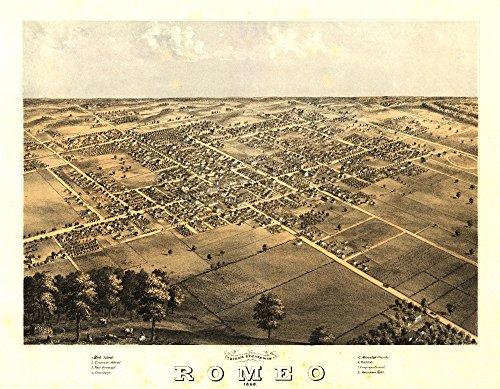Romeo, Michigan - Panoramic Map (36x54 Giclee Gallery Print, Wall Decor Travel Poster)