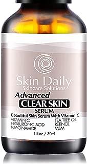 Skin Daily Clear Skin Serum + Vitamin C - With Tea Tree Oil, Niacinamide, Retinol, Salicylic Acid and MSM - 1 Oz