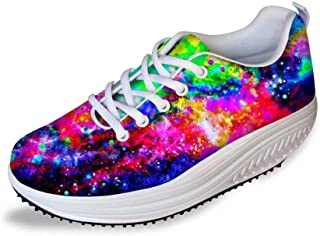 Fashion Galaxy Pattern Slimming Swing Shoes Fitness Walking Sneaker Women's Wedges Platform Shoes