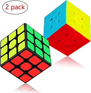 Speed Cube Set, Apfity Magic Cube Bundle 3x3x3 Cube Sticker & Stickerless Puzzle Cubes Collection Toy for Kids (2 Pack)