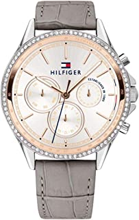 Tommy Hilfiger Women's Casual Stainless Steel Quartz Watch with Leather Strap, Grey, 17.4 (Model: 1781980)
