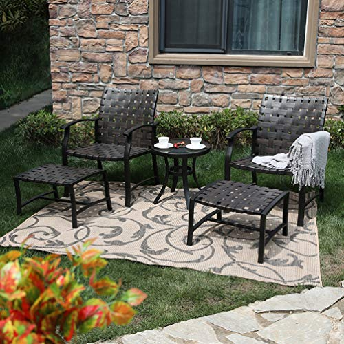 PHI VILLA 5 Piece Leather-Ware Outdoor Patio Conversation Set with 2 Chairs 2 Ottomans and Glass Coffee Table