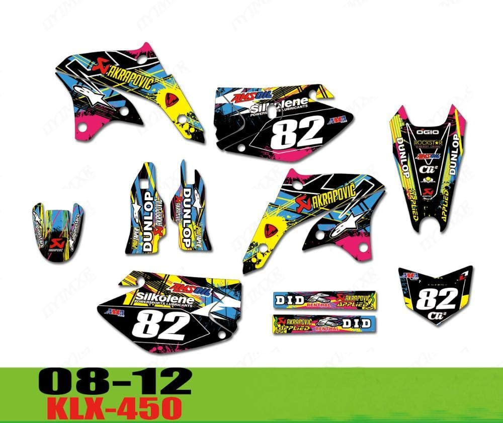 KLX-450 08-12 Motorcycle Team Stic Decals Backgrounds Max 68% OFF New Free Shipping Graphics