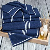 Lavish Home Rio 8 Piece 100% Cotton Towel Set - Navy