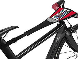 ROCK BROS Road Bike Sweat Guard with Phone Pouch Bicycle Trainer Sweat Net Catcher Absorbs Sweat Mountain Bike Frame Prote...