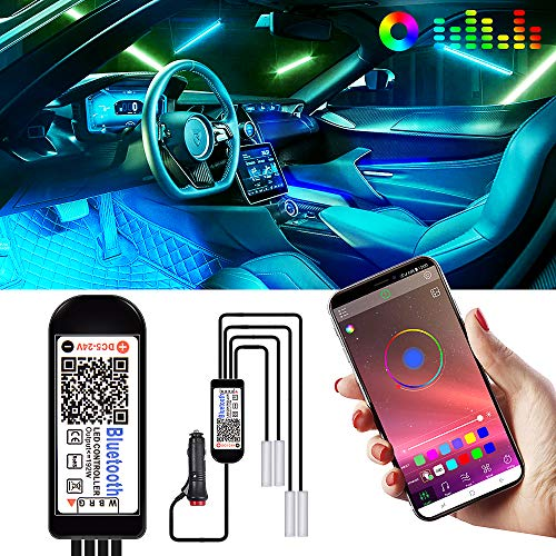 KOYOSO RGB Luci LED Auto Interni, 4 Strisce Luci con 20 LED per Auto Decorare Interne, Accendisigari con APP Controllo