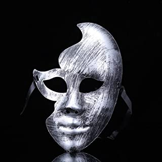 Halloween Mask Lovely Men Burnished Silver/Gold Masquerade Party Ball Mask/Cosplay happyL (Color : Silver)