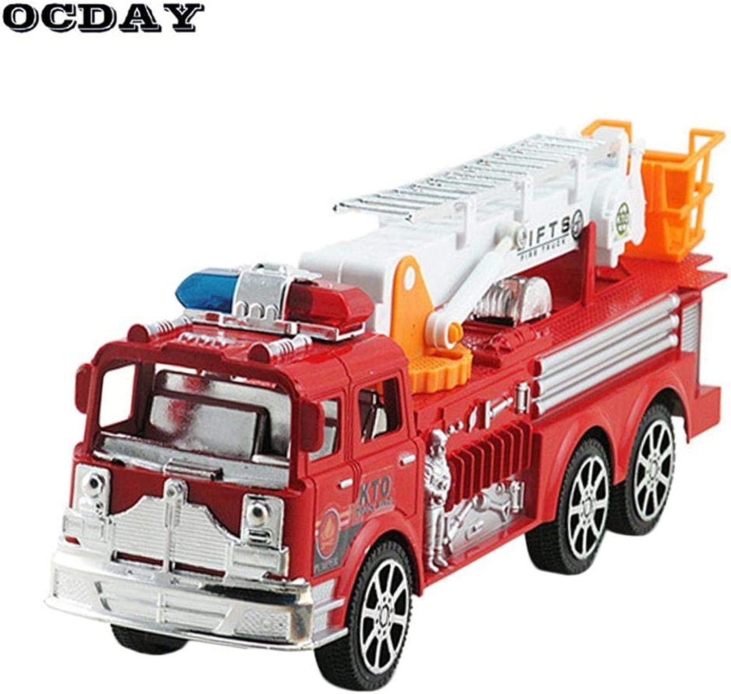 YKS Diecast Firetruck Artificial Model Cars Engineering Vehicle Simulation Truck with Folding Ladder Educational Toys Baby Gifts Aerial Fire Truck