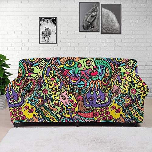 HUGS IDEA Funda elástica para sofá de 1 pieza, diseño abstracto de graffiti, de elastano, lavable, protector de muebles elástico para perros, gatos, niños, para asiento de hasta 127 cm