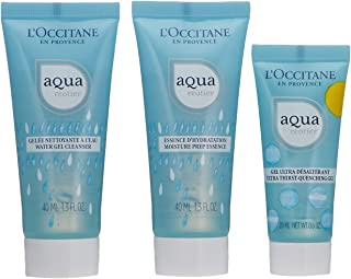 L'Occitane Aqua Reotier Hydration On-the-Go Face Care Travel Set with Cleanser, Toner and Moisturizing Face Gel for All Skin Types