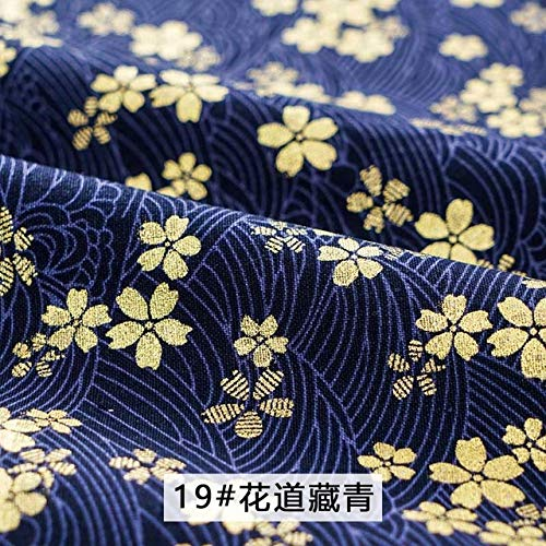 YFB bedruckterdunkelblauer Baumwollstoff ausBronze imjapanischen Blumenmusterstoff für Kimono Cheongsam und DIY-TascheTJ8692-2 45x45cm kleines Stück 19