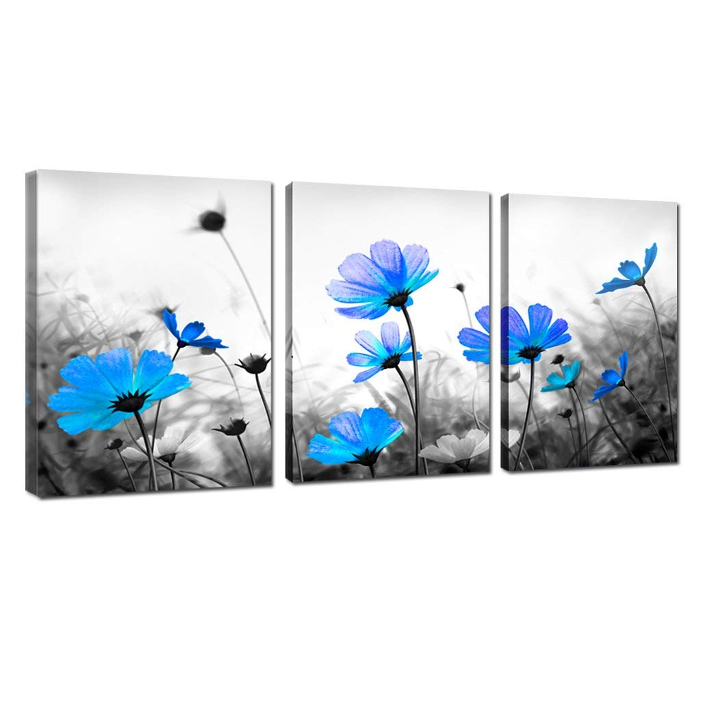 Black And White Abstract Flower Canvas Wall Art Picture Print ~ VARIOUS SIZES