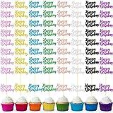 64 Piezas Toppers de Pastel de Happy Birthday Topper de Magdalena de Cumpleaños con Brillos Topper de Decoración de Postre para Fiesta de Cumpleaños Celebración de Aniversario, 8 Colores