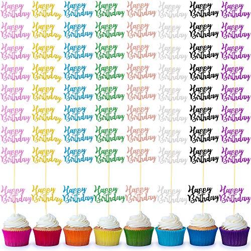 64 Stücke Happy Birthday Cupcake Toppers Glitzer Geburtstag Torte Topper Zahnstocher Dessert Topper Dekoration für Geburtstag Party Jahrestag Feier, 8 Farben