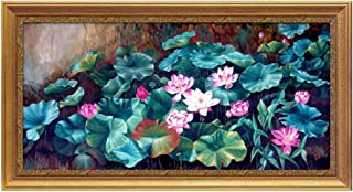 XG Inc Lotus Leaf Decorative Painting, Feng Shui Painting Green Plant Landscape Office Home Decoration attracting Wealth and Good Luck (with Frame),B,60X130CM