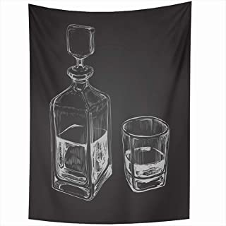 Ahawoso Tapestry 50x60 Inches Bourbon Sketch Whiskey Bottle Glass Drink Decanter Design Wall Hanging Home Decor Tapestries for Living Room Bedroom Dorm