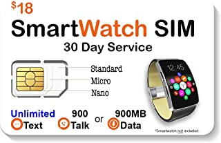 $18 Smart Watch SIM Card for 2G 3G 4G LTE GSM Smartwatches and Wearables - 30 Day Service