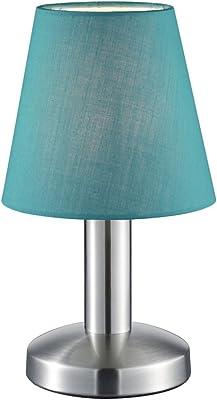 TRIO, Lampe de table, Mats 1xE14, max.40,0 W Tissu, Turquoise, Corps: metal, Nickel mat Ø:14,0cm, H:24,5cm IP20,Interrupteur tactile 4 niveaux