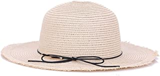 QinMei Zhou Hat Summer Sun hat Big Along The Ladies Simple Fashion European and American Style Tide hat Knitted Straw hat (Color : Beige)