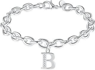 Silver Tone Zircon Stone 26 Letters Alphabet Personalized Charm Link Bracelet for Women