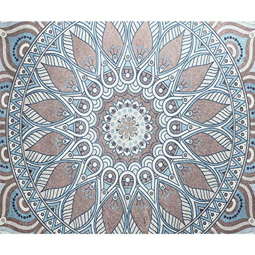 decomonkey Fototapete selbstklebend Mandala Orient 245x175 cm XL Selbstklebende Tapeten Wand Fototapeten Tapete Wandtapete klebend Klebefolie Muster Zen Ornament Holz braun blau