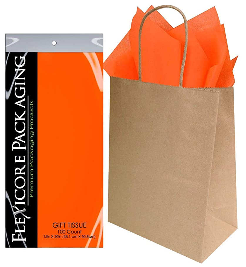 Flexicore Packaging? 50ct Natural Brown Kraft Paper Gift Bags + 100ct Gift Tissue Paper (Orange) tvvuuoree042