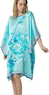 prettystern Donna 100% Seta Kimono Pigiama Camicia da Notte con Pittura a Pennello Cinese Dipinto a Mano