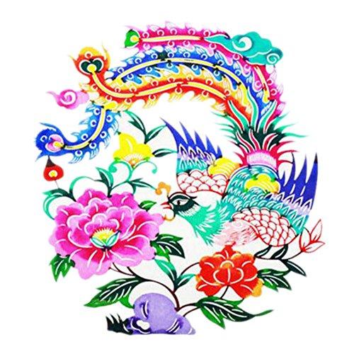 Black Temptation 4PCS Chinese Traditional Art Paper Cut Décor Collection colorée Souvenir-A21