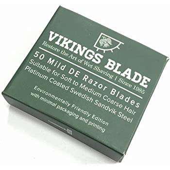 VIKINGS BLADE Swedish Steel Replacement Razor Blades, 50 Pack (9 to 12 months supply), Mild & Safe