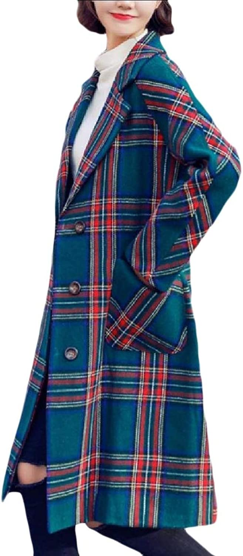 Vska Womens Long Notch Collar Plaid Merino British Style Walker Coat
