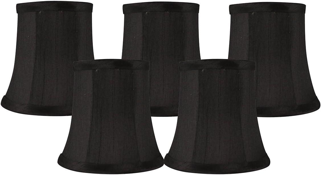 Meriville Set of 5 Black Faux On 5 popular Lamp Chandelier Shade Clip Silk Popular standard