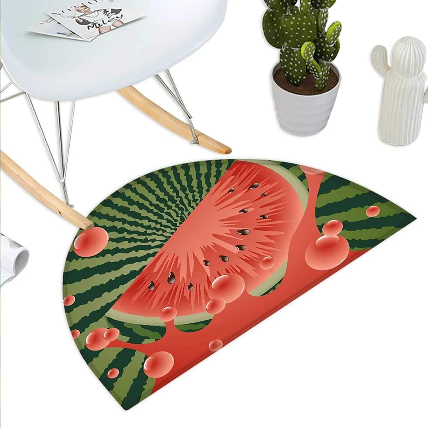 Summer Semicircle Doormat Beach Fruit Vegetarian Garden Health Life Hot Season Image Halfmoon doormats H 43.3  xD 64.9  Olive Green Dark Coral Hunter Green