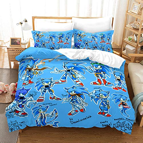 GuoDamei Sonic the Hedgehog Duvet Cover Set Single Size 135x200 cm 2 pcs Bedding with Zipper Closure 1 Microfiber Quilt Cover + 1 Pieces Pillowcases 50x75 cm Ultra Soft Hypoallergenic