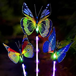 Outdoor Solar Garden Lights, Solar Stake Lights,Fiber Optic Butterfly Decorative Lights with a Purple LED Light Stake, 3 Pack Multi-color Changing LED Garden Lights for outdoor decor,Yard Art,Garden