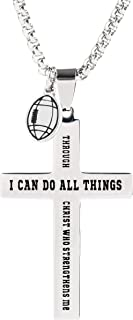 Sport Necklace for Boys and Teens - Stainless Steel Pendant with Ball Charm and Inspirational Text (American Football)